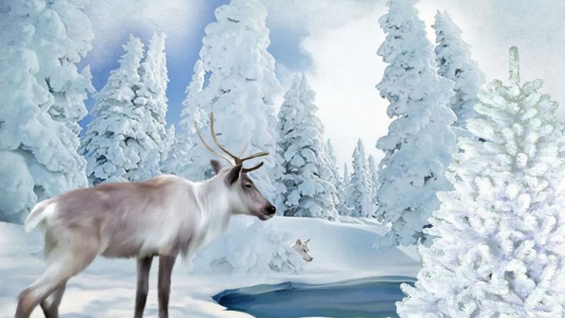 immagine di renna di babbo Natale in paesaggio innevato